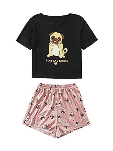 DIDK Damen Cartoonmuster Top und Short Zweiteilig Sleepwear Pyjama Set T-Shirt Short Hose Schlafanzug Hund Schwarz Rosa S