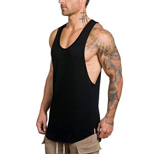 GZXISI Men's Gym Bodybuilding Stringer Tank Top Muscle Workout Shirt Fitness Sleeveless Vest (#2 Black, Medium)
