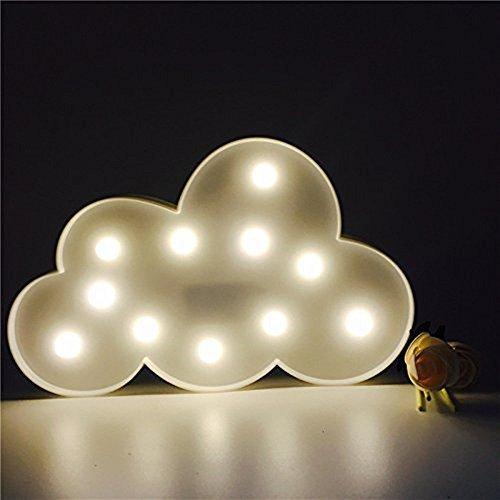 Süße LED Nachtlichter Stimmungslicht Schreibtischlampen Babyzimmer Kinderzimmer Dekorationen Geschenke (Wolke, Weiß)