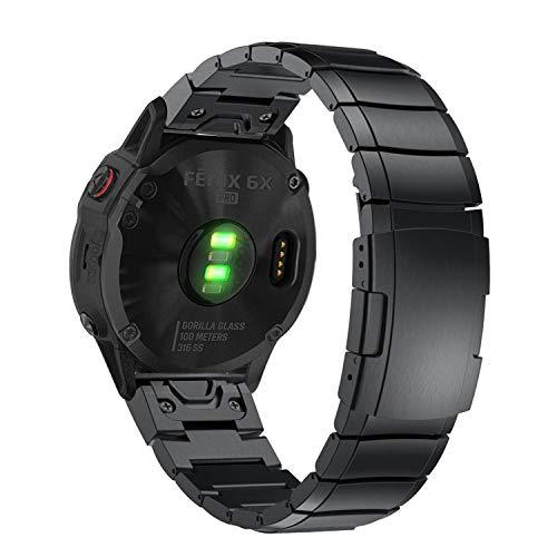 YOOSIDE for Fenix 5X/Fenix 6X QuickFit Watch Band,26mm Metal Stainless Steel Wristband Strap with Security Buckle for Garmin Fenix 5X/5X Plus,Fenix 6X Pro/Sapphire,Fenix 3,Quatix 3,Tactix Bravo,Black
