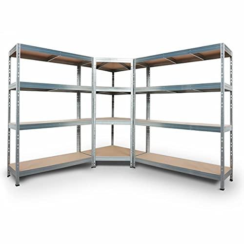 Rivet Schwerlastregal Regalsystem verzinkt, 1 Eckregal (180x90x45x64,5cm, 250kg, 4 HDF-Böden) und 2 Steckregale (180x120x45+180x150x45cm, 300kg, 4 HDF-Böden). Metallregal Kellerregal Lagerregal