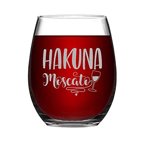 Hakuna Moscato - Vaso de vino sin tallo, grabado con láser, idea única para el día del padre, 15 onzas