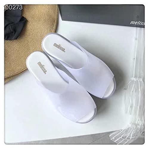 DZQQ 2020 Nuevas Sandalias Planas para Mujer, Zapatos de gelatina Melissa de tacón Alto para Mujer, Sandalias sólidas, Zapatos de gelatina para Mujer