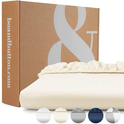 bo&button® Mako Satin Spannbettlaken, echte Luxusqualität, 200x200 cm, bis 30 cm Steghöhe, 100% feinste GOTS Bio Baumwolle, Beige/Buttercream
