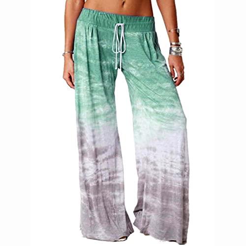WJANYHN Vrouwen losse gradiënt bedrukte yoga brede been sport broek - groen - 5XL