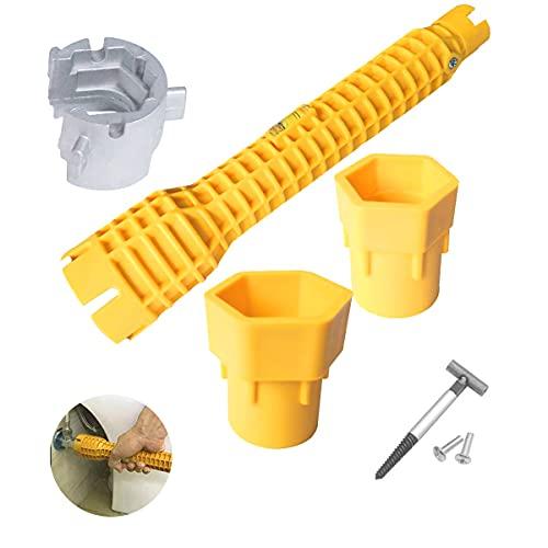 Herramienta de instalación de grifo y lavabo, multifunción, llave de instalación de lavabo, herramienta de fontanería para lavabo, baño, cocina (amarillo)