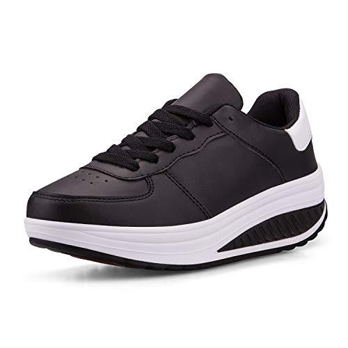 Mujer Adelgazar Zapatos Sneakers para Caminar Zapatillas Aptitud Cuña Plataforma Zapatos(37,Negro
