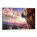 DRAGON VINES Póster de la leyenda de Zelda Enlace Escalando Acantilado Arte de pared nórdico 60 x 90 cm