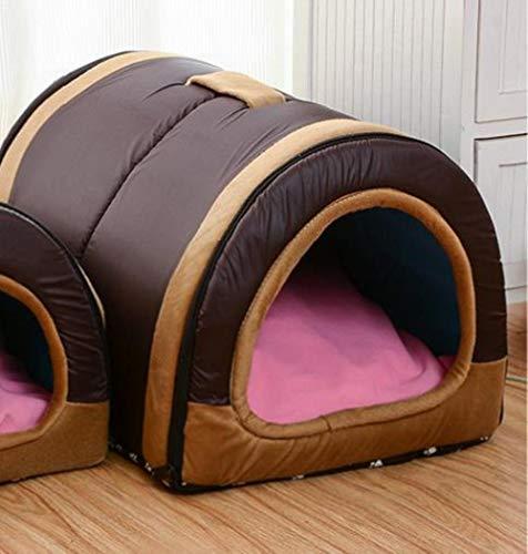 LinZX Dog House Nest Mit Mat Faltbare Heim-Hundebett-Katze-Welpen Hundehütte für Small Medium Hunde Tiere Chihuahua Betten Mat Cushion,Brown,58cmx40cmx35cm