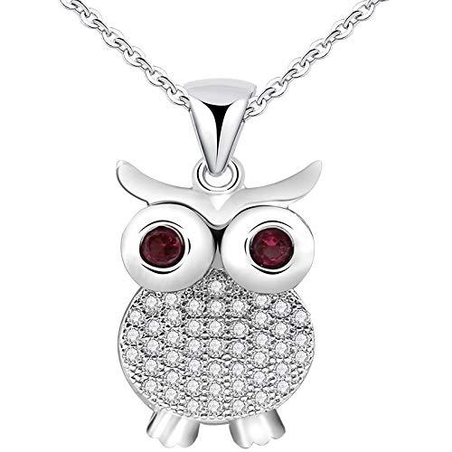 RQQ Plateado, Lindo, Lindo Collar de búho, Collar de Dama de circonio, Diamantes Brillantes.