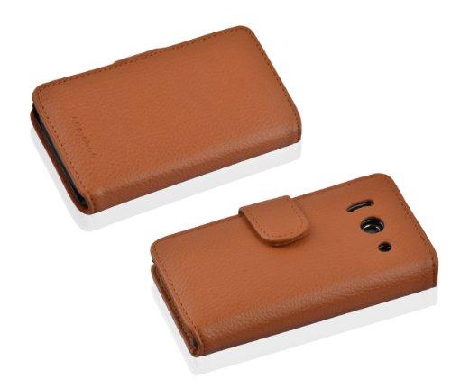 Cadorabo Hülle für Huawei Ascend Y300 - Hülle in Cognac BRAUN – Handyhülle mit Kartenfach aus struktriertem Kunstleder - Case Cover Schutzhülle Etui Tasche Book Klapp Style - 6