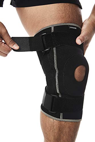 Exrebon Adjustable Hinged Knee Brace with Spring Stabilizer for Men & Women - Breathable Neoprene Open Patella Knee Support for Swollen ACL, Tendon, Ligament and Meniscus Injuries M