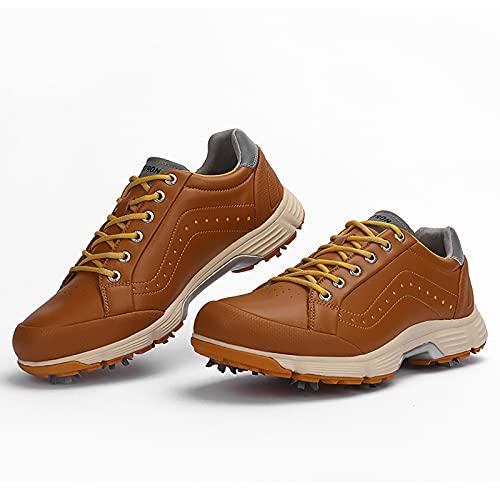 Scarpe da Golf per Uomo, Professional Spike Golf Shoes Impermeabili Antiscivolo per Esterno Traspirante E Resistente all'Usura Scarpe Ginnastica,Marrone,11US