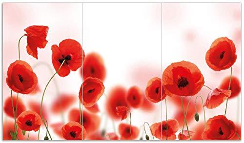 Wallario Herdabdeckplatte/Spritzschutz aus Glas, 3-teilig, 90x52cm, für Ceran- und Induktionsherde, Leuchtende Mohnblumen - Rote Mohnblumenblüten