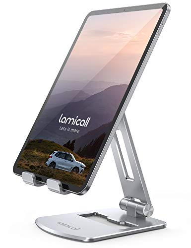 Lamicall Tablet Stand, Adjustable Tablet Holder for Desk - Foldable Desktop Stand Mount Dock for iPad Pro 12.9, 11, 10.5, 9.7, iPad Air mini 2, 3, 4, 5, Switch, Samsung Tabs, iPhone, Other Tablets