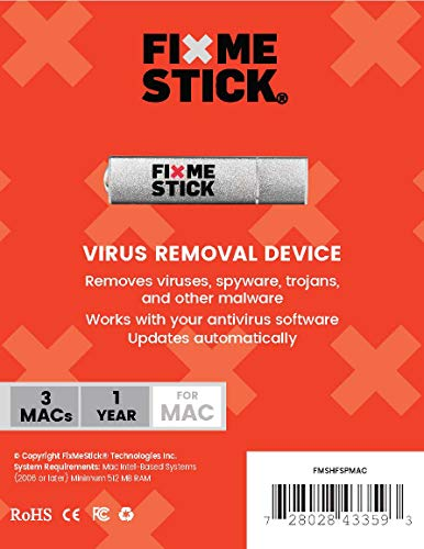 FixMeStick for Mac/Apple - Virus Removal Device - Unlimited Use on up to 3 Macs for 1 Year