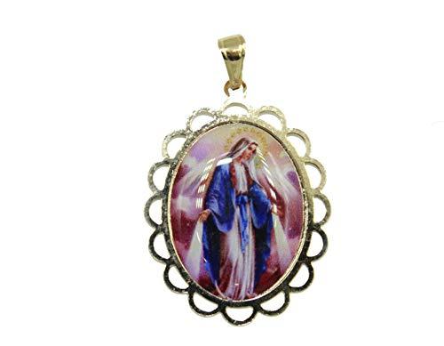 Medalla Virgen Milagrosa – Medalla Nuestra Señora de los Milagros chapado en oro de 18 quilates con cadena de 50,8 cm