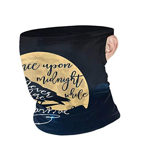 Unisex Bufanda Facial,Gótico Edgar Allan PoE El Cuervo Literario Sombreros Customed Polainas De Cuello Secado Rápido Calentador De Cuello para Cámping Partido Caza