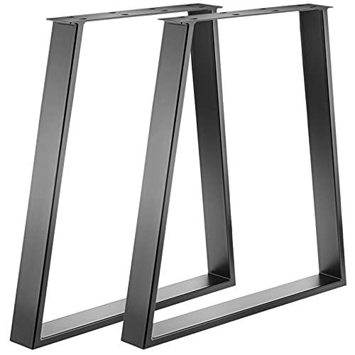 PrimeMatik - Pies rectangulares para Mesa. Patas en Acero Negro 700 x 85 x 730 mm 2-Pack