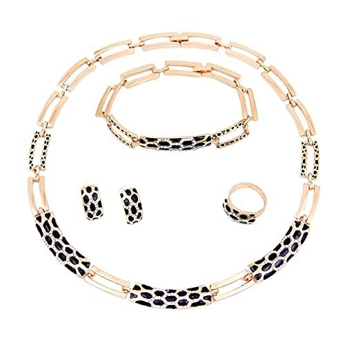 Aman Joaillerie Conjunto de Joyas Mujeres Collar de Oro Pulsera Anillo Pendientes | Juego de joyas de mujer chapado en oro | Joyas Boda Regalo de Navidad Día de la Madre (Oro) (Oro)