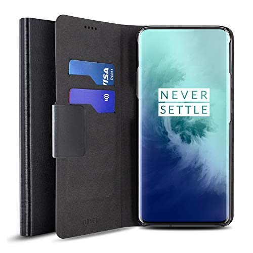 Olixar for OnePlus 7T Pro Wallet Case with Card Holder - Flip Folio Kickstand PU Leather Wallet Case Cover - ID and Credit Card Pocket - Wireless Charging Compatible - Black