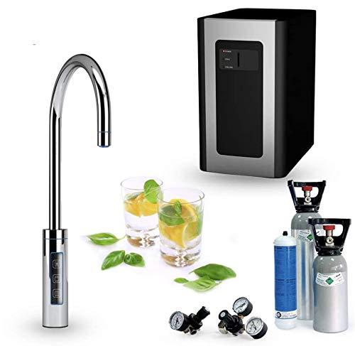 Untertisch-Trinkwassersystem SPRUDELUX RED Diamond inklusive 3-Wege-Zusatzarmatur. Profi-Wassersprudler für den Privathaushalt. Spritziges Mineralwasser/Sprudelwasser + kochend heißes Wasser