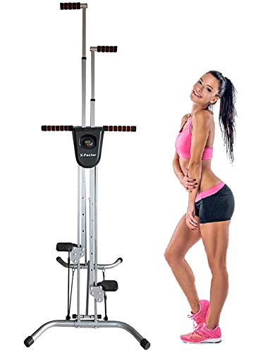 X-Factor Vertical Climber Stepper Stair Climbing Cardio Exercise Machine Total Body Home Gym Workout Fitness Stair Stepper w Calorie Counter and Resistance Cords