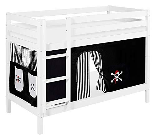 Lilokids Etagenbett Jelle TÜV und GS geprüft Pirat, Spielbett mit Vorhang und Lattenroste Kinderbett, Holz, schwarz/weiß, 198 x 98 x 150 cm