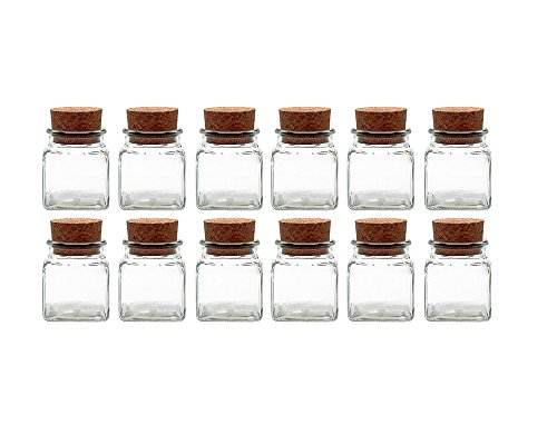Gewürzgläser Set mit Press-korken | 12 teilig | Füllmenge 120 ml | Quadratisch Hochwertiges Glas | Glasdose Glasgefäß ideal für Salz Pfeffer Sonnenblumenkerne kürbiskerne Kandis Bonbons Korkengläser