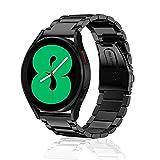 SeNool Correas 20mm Compatible con Galaxy Watch 4 40mm 44mm/4 Classic 42mm 46mm/Active 2 40mm 44mm Pulsera Repuesto de Metal de Acero Inoxidable Compatible con Galaxy Watch 3 41mm/Watch 42mm Negro