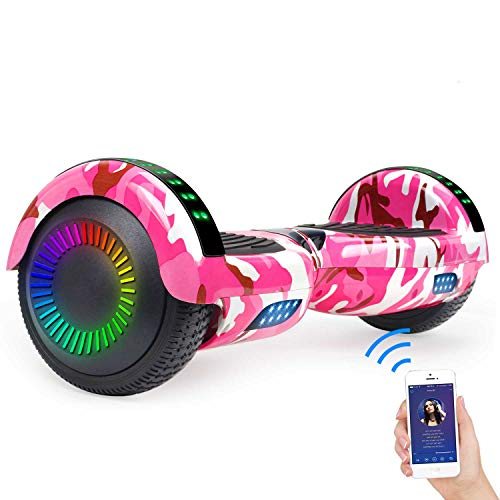 """SISIGAD Hoverboard Self Balancing Scooter 6.5"""" Two-Wheel Self Balancing Hoverboard with Bluetooth Speaker for Adult Kids Gift - Fun Edition"""