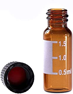 2ml HPLC Vial, Autosampler Vial, Alberts Filter Amber Lab Vial, Sample Vial with Writing Area, 8-425 Screw-Thread Vial, Black Screw Cap with Hole, Red PTFE & White Silicone Septa 100 Pack