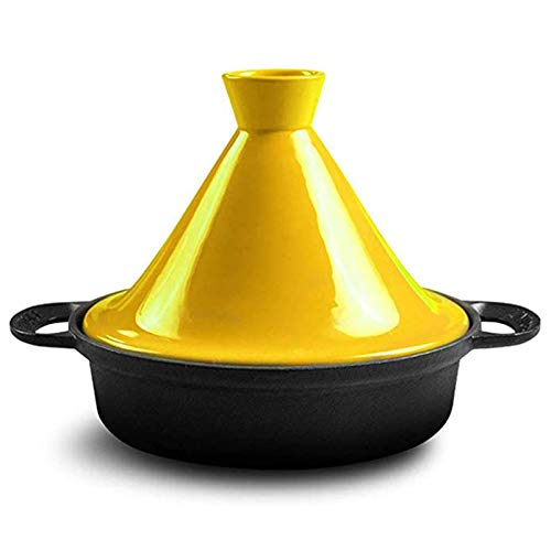 WM Marokkanische Tajine Pfanne 25cm100% bleifreie Sicherheit Slow Cooker Gusseisen Material Geeignet für großes Kochen für 3-5 Personen,Gelb