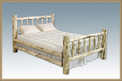Montana Woodworks Log Furniture - Queen Bed - Unfinished