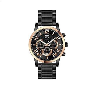 T5 H3523G-D Gold Bezel Round Stainless Steel Analog Watch for Men - Black