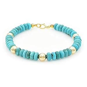 Dainty Minimalist Natural Turquoise Beaded Gemstone Bracelet