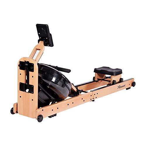 Reehut Máquina de Remo Fitness Plegable Natural Remo de Agua para Interiores on Ajuste de Resistencia, con Bluetooth y Gratuita App
