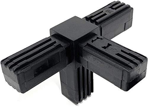 Design61 5x Steckverbinder T-Stück für Vierkantrohre mit Abgang Rohrverbinder 90° 25 x 25 x 1,5 mm