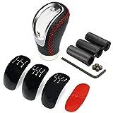 Goolsky Pomo de palanca de cambios para coche, de 5 y 6 velocidades, universal, manual, color negro, de piel sintética, con 3 tapas