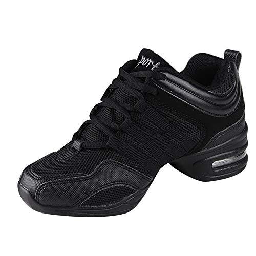 Uirend Zapatos Aire Libre Deportes Danza Mujer - Lona Cordones Suela de Goma Zapatillas Negro Informal Jazz Contemporáneo Baile Practicidad Running Sneaker