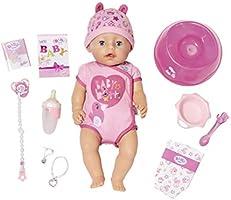 Baby Born 824368 miękka w dotyku dziewczynka z niebieskimi oczami interaktywna funkcja lalki, 43 cm