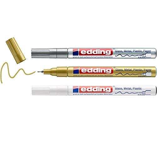 Edding780 marcador de tinta opaca brillante - blanco, oro, plata (metálico) - 3 rotuladores - punta extrafina 0.8 mm - para vidrio, piedras, madera, plástico, papel - color permanente