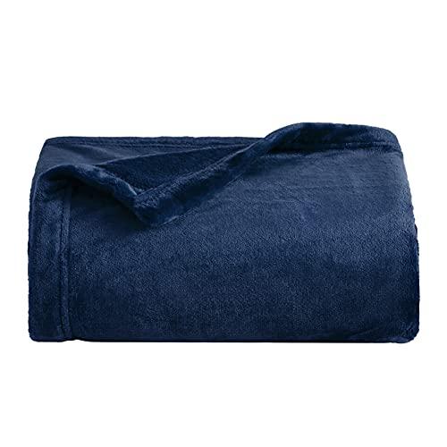 Bedsure Fleece Blanket Twin Size Navy Lightweight Super Soft Cozy Luxury Bed Blanket Microfiber