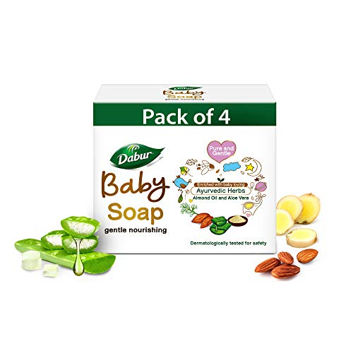 Dabur Baby Soap: For Baby's Sensitive Skin with No Harmful Chemicals |Contains Aloe Vera & Almond Oil | Hypoallergenic & Dermatologically Tested with No Paraben & Phthalates - 75g ( Pack of 4)