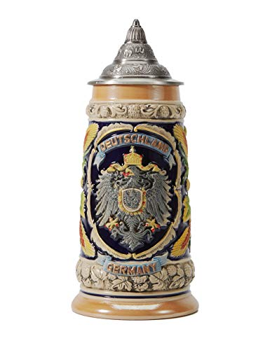 Amoy-Art Boccale da Birra Tedesco con Coperchio German Beer Stein Mug Relief Stemma dei Stati federali Regalo Souvenir Giftbox 0.6Litre