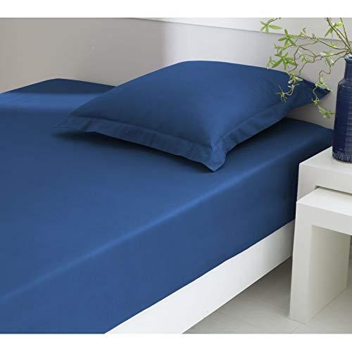 ELENA PARIS - Drap Housse 160x200cm Bonnet 28 cm 100% Coton Percale peigné 78 Fils - Couleur Bleu