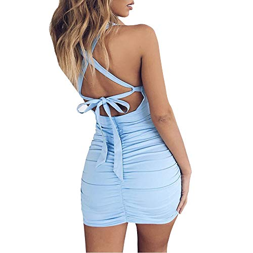 Feeke Women's Sexy Jumpsuit Hollow Out Spaghetti Backless Sleeveless Cutout Club Ruched Bodycon Mini Dress (Blue, M)…