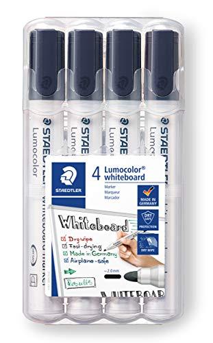 STAEDTLER Lumocolor 351 WP4-9X Whiteboard-Marker (Rundspitze ca. 2 mm Linienbreite, Set mit 4 schwarzen Markern, hohe Qualität, trocken und rückstandsfrei abwischbar von Whiteboards)