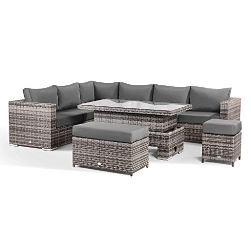 Club Rattan Willow Modular Corner Sofa Set with Rising Table in Grey