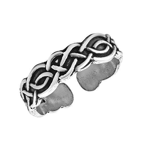 AeraVida Eternal Celtic Knot Design Adjustable .925 Sterling Silver Toe Ring or Pinky Ring